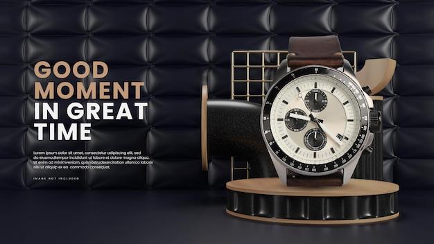 Elegante podio con sfondo chesterfield Psd Premium