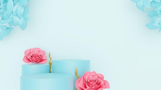 Elegante podio con fiori per annunci di prodotti