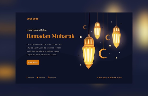 Elegante decorazione ramadan mubarak festival delle lanterne arabe dorate