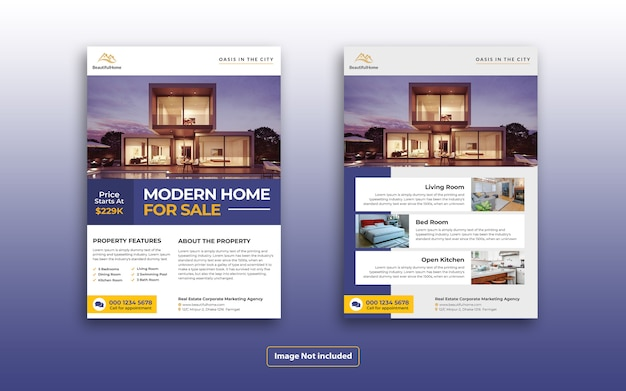 Modello elegante volantino di marketing immobiliare