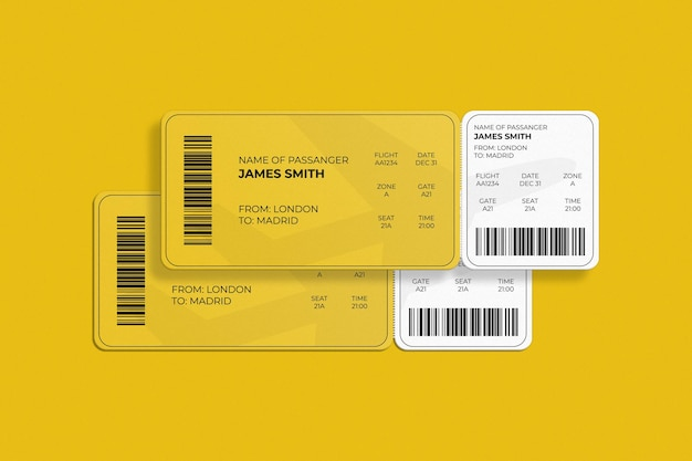 Elegante carta d'imbarco con angoli arrotondati o mockup di biglietti aerei