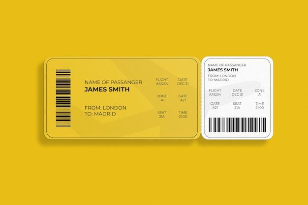 Elegante carta d'imbarco con angoli arrotondati o design mockup di biglietti aerei