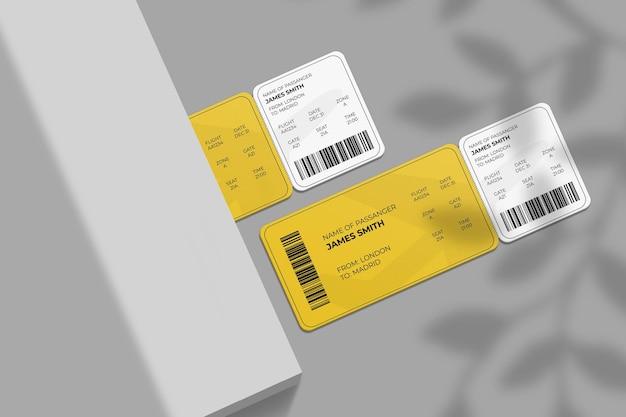 Elegante carta d'imbarco con angoli arrotondati o mockup di biglietto aereo con sovrapposizione di ombre