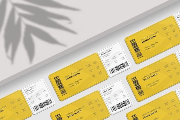 Elegante carta d'imbarco con angoli arrotondati o mockup di biglietto aereo