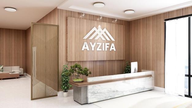 Elegante banco reception rustico con mockup di parete 3d logo aziendale