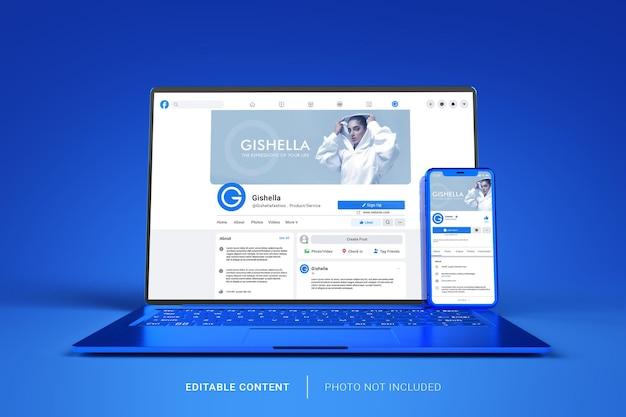 Elegante mockup di smartphone e laptop con interfaccia utente facebook modificabile