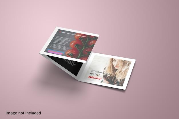 Elegante mockup di brochure a tre ante quadrato