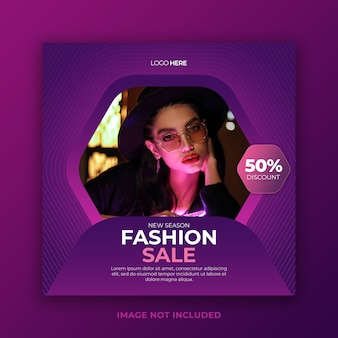 Modello di post sui social media per un'offerta speciale di vendita di moda moderna ed elegante