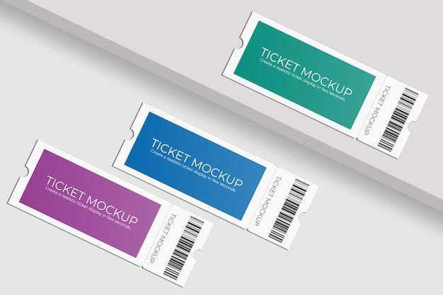 Design elegante di mockup di voucher o biglietti