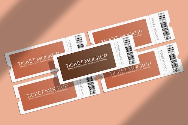 Elegante mockup di voucher o biglietto con sovrapposizione di ombre