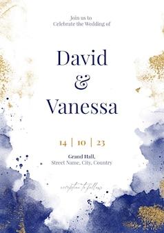 Elegante modello di biglietto d'invito per matrimonio ad acquerello