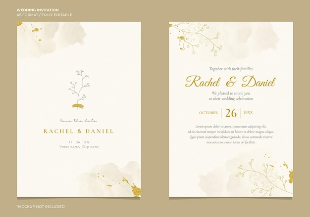 Elegante invito a nozze con illustrazione della linea botanica e acquerello astratto