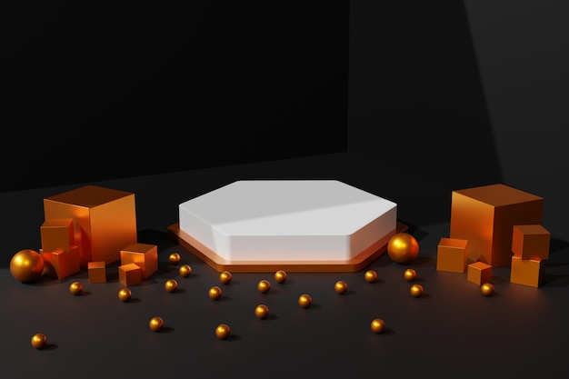 Elegante sfondo scena podio bianco e oro 3d