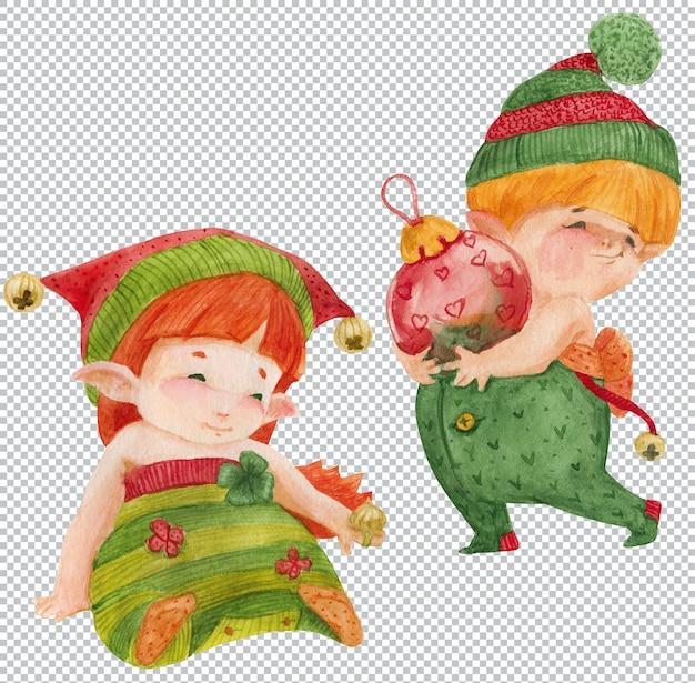 La principessa degli elfi e il bambino degli elfi con la palla di natale. elementi grafici ad acquerello, illustrazione a strati