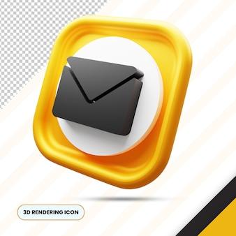 Icona di rendering 3d di posta elettronica e busta png