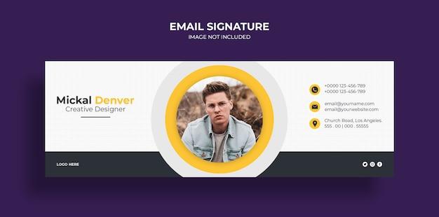 Design del modello di firma e-mail o piè di pagina e-mail e modello di copertina dei social media personali