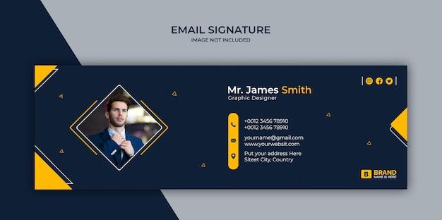 Design del modello di firma e-mail o piè di pagina e-mail e copertina dei social media personale