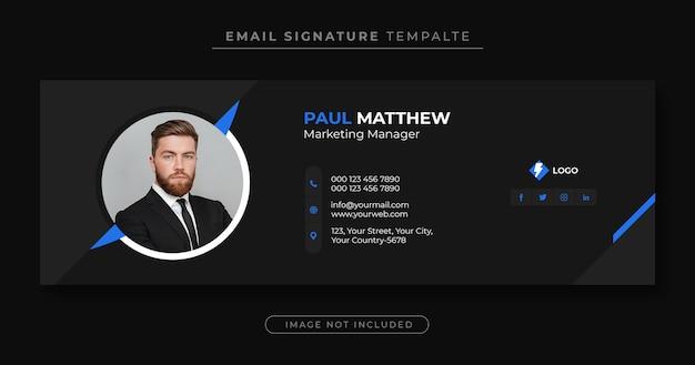 Modello di firma e-mail o piè di pagina e-mail e copertina personale di facebook