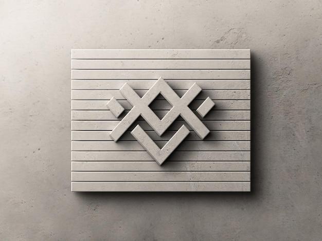 Logo effetto rilievo sul mockup della parete