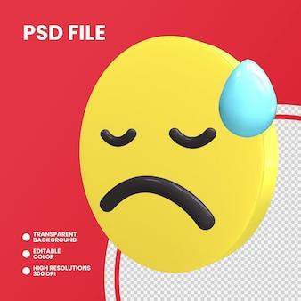 Rendering 3d moneta emoji isolato volto abbattuto con sudore