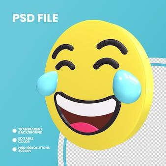 Rendering 3d moneta emoji isolato faccia con lacrime di gioia