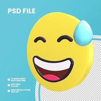 Rendering 3d moneta emoji isolato faccia ghignante con sudore