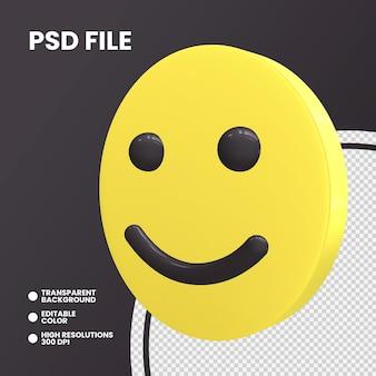 Rendering 3d moneta emoji isolato faccia leggermente sorridente