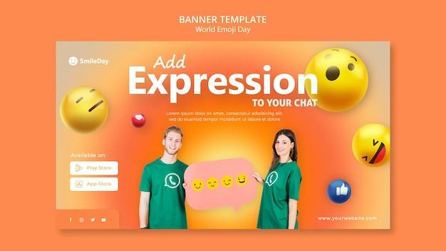 Modello di banner orizzontale emoji day