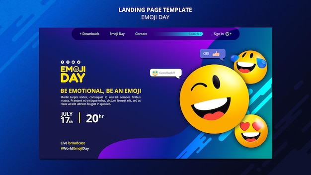 Modello di pagina di destinazione del giorno emoji
