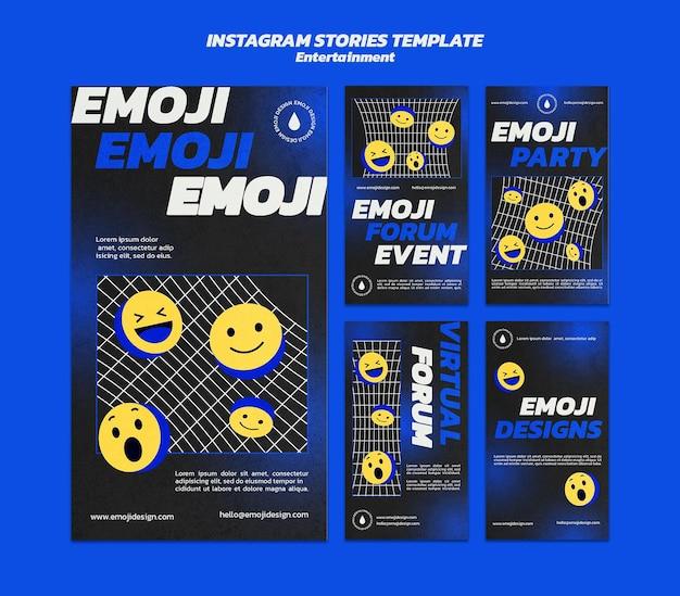 Modello di storie di instagram di intrattenimento emoji