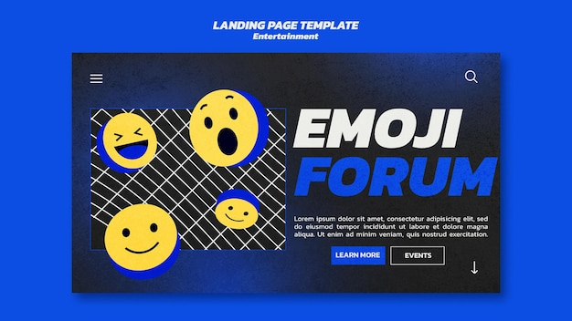 Modello di pagina di destinazione di intrattenimento emoji