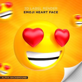 Emoji faccia cuore 3d render