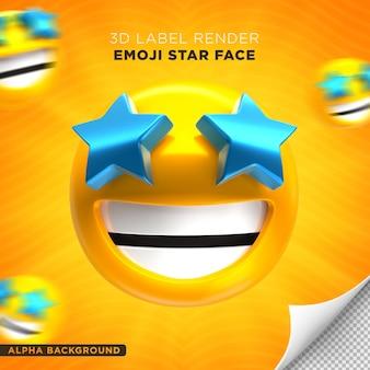 Emoji faccia stella 3d render