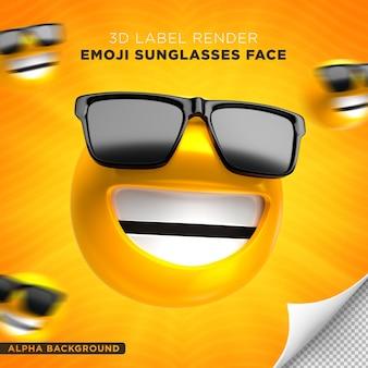 Emoji viso occhiali da sole 3d render