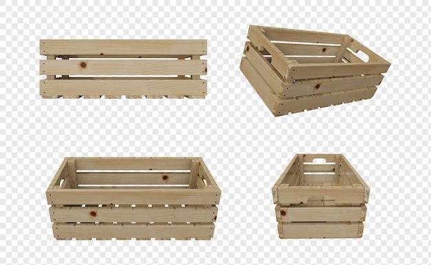 Cestino di legno vuoto vuoto o casse isolate