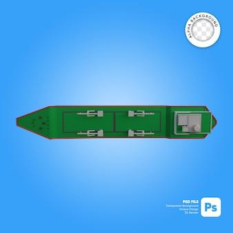 Oggetto 3d di vista dall'alto della nave da carico vuota