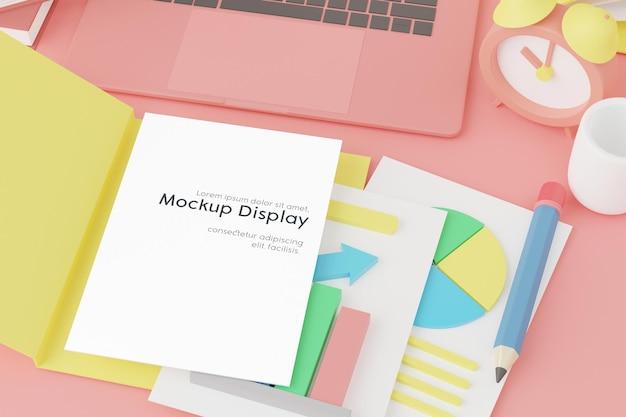 Carta vuota nel mockup di cartelle sulla scrivania con molti oggetti aziendali