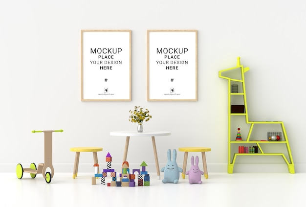 Cornice vuota per il modello nella stanza dei bambini