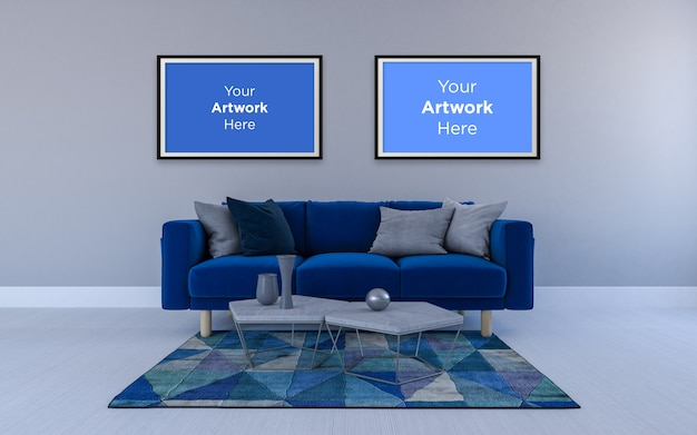 Portafoto vuoto con sofa mockup design blu