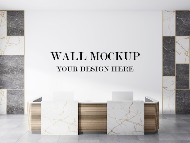 Parete vuota del mockup di rendering 3d elegante lobby moderna