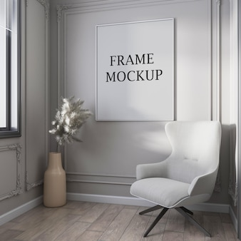 Mockup di cornice bianca vuota per poster