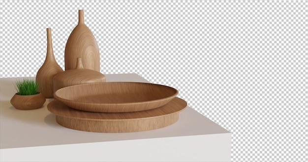 Piatto di legno vuoto sul tavolo ritagliato