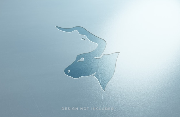 Mockup logo effetto metallo inciso