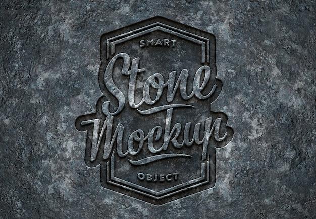 Effetto testo in pietra incisa mockup