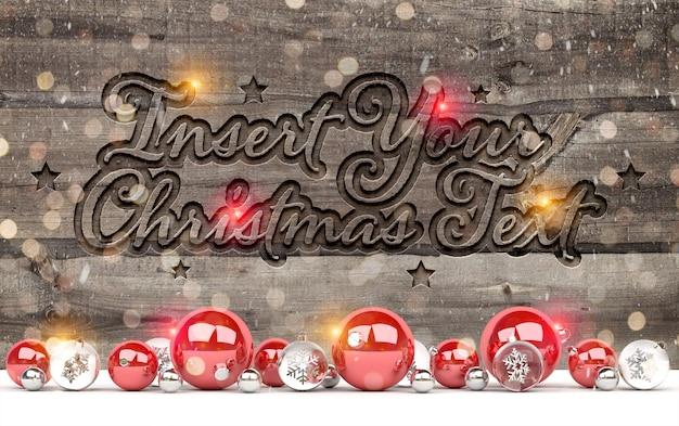 Mockup di legno inciso con decorazioni natalizie