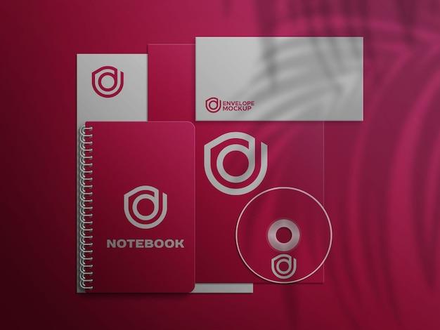 Busta notebookcd su carta intestata psd mockup