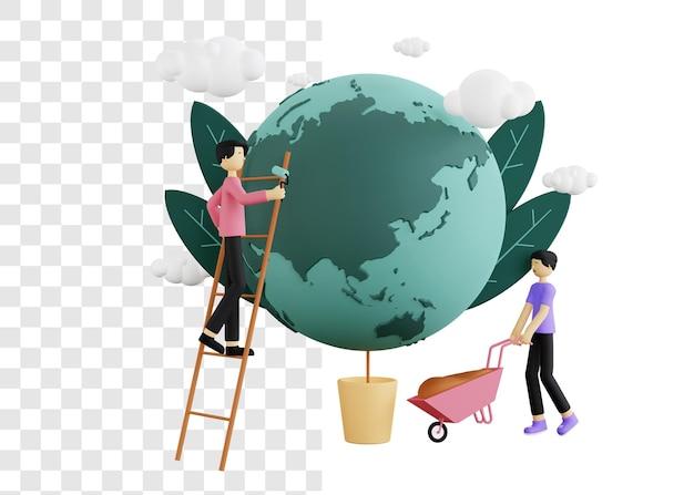 Concetto dell'illustrazione 3d di giorno dell'ambiente prendendosi cura della terra