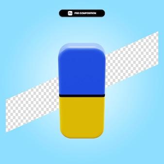 Eraser 3d rende l'illustrazione isolata