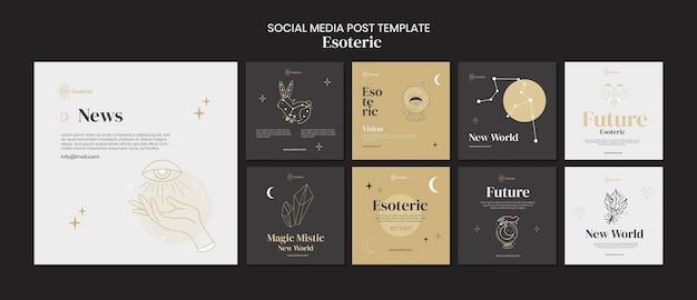Modello di post sui social media esoterici