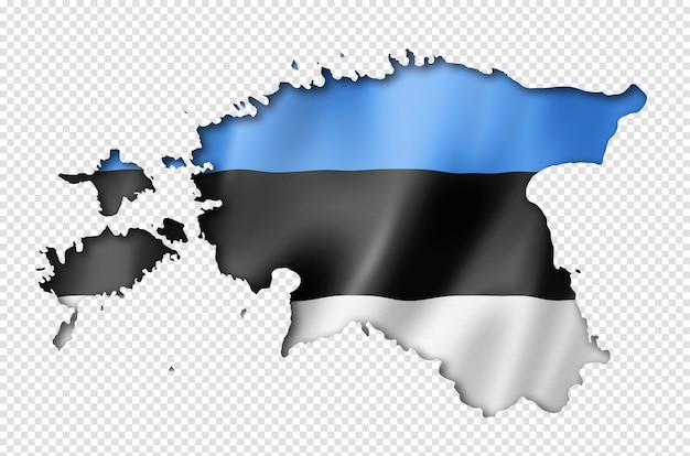 Estonia bandiera mappa, tre rendering tridimensionale, isolato su bianco